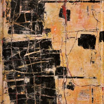 """NEWLANDIA: Roland, Red Line, 2019. Encaustic, India ink on wood, 48"""" x 36"""""""