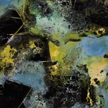 """NEWLANDIA: Roland, Rip Up the Map (detail), 2019. Encaustic, India ink on wood, 46"""" x 30"""""""
