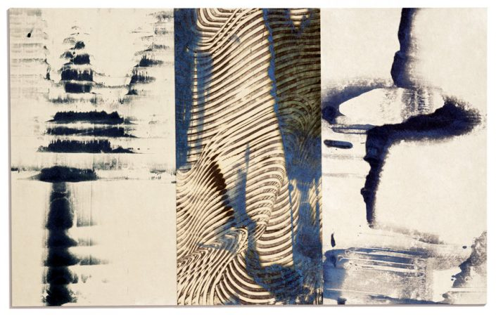 OPTIX SERIES: Blue Wave, encaustic monotype.
