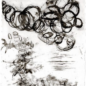 ENERGY FIELDS: Entropy. Encaustic on paper, 15 x 13.5 inches