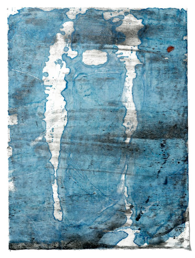 Light on Water, encaustic monotype