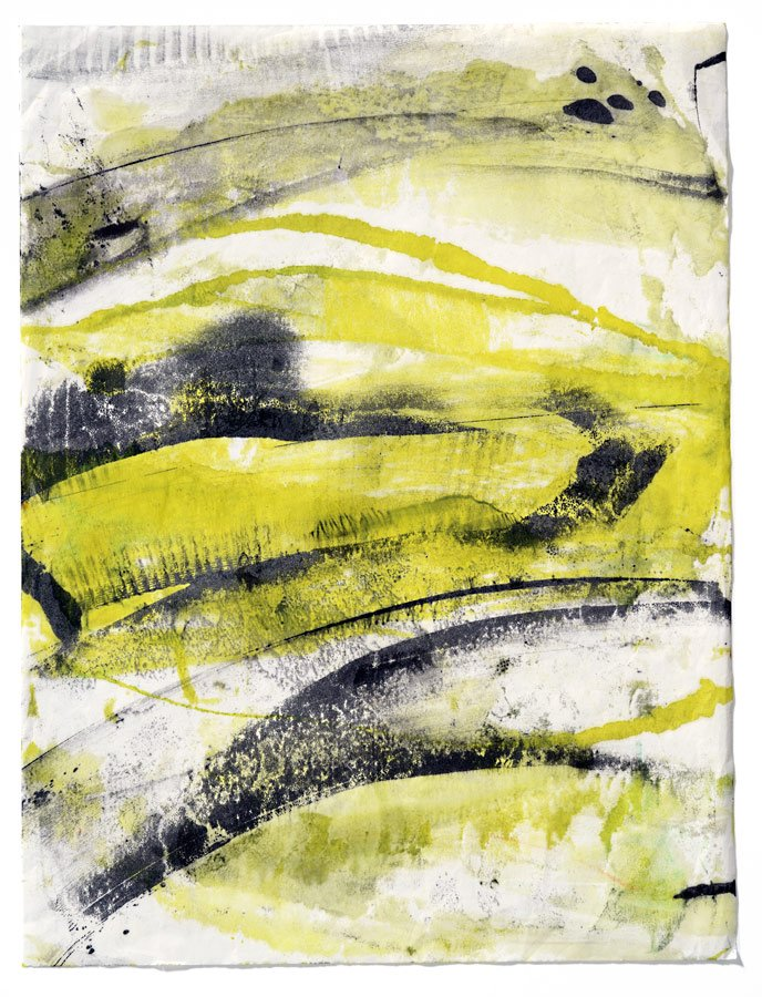 Lime Roll, encaustic monotype