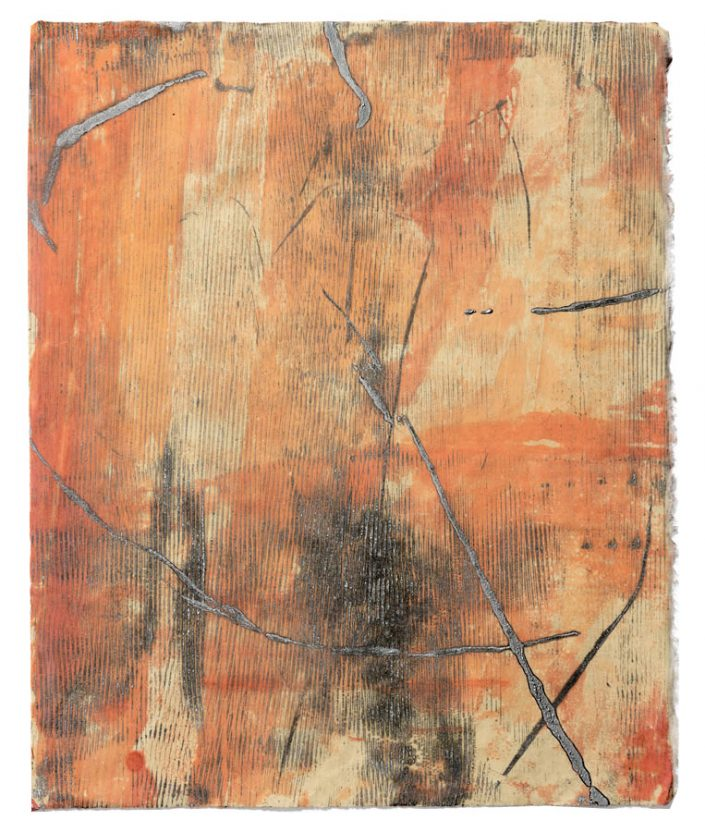 Orange Slice I, encaustic monotype.