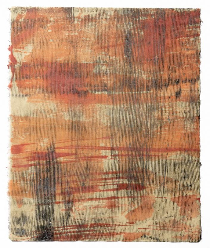 Orange Crush II, encaustic monotype.