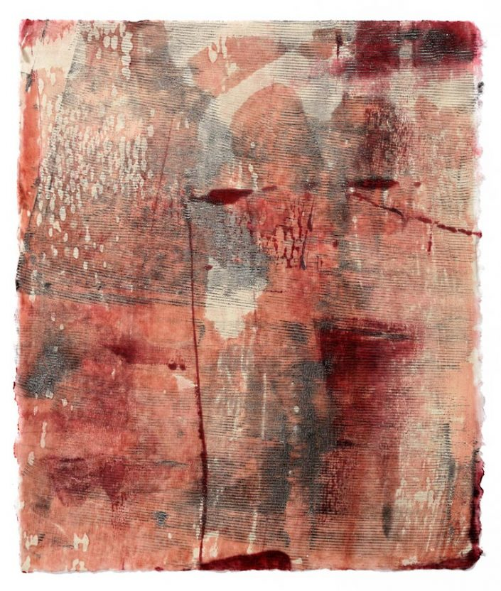 Orange Crush V, encaustic monotype.