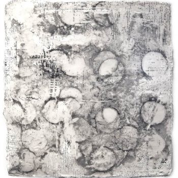ENERGY FIELDS: Poetry. Encaustic on paper. 15 x 13.5 inches