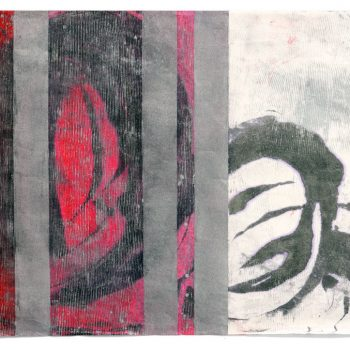 Roll on Red, encaustic monotype