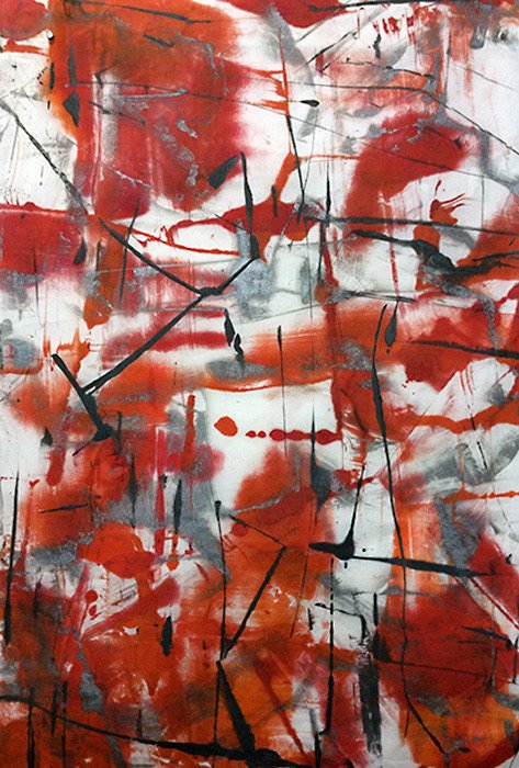 Rumble I, encaustic on Mulberry paper, Roland