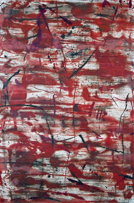 WANDERERS PATH: Rumble IV, encaustic on Thai Kozo paper, Roland