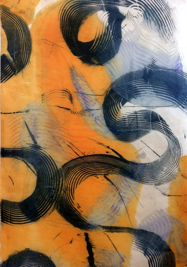 "WANDERERS PATH: Swirl V, encaustic monotype on kitakata paper, framed 37.5"" x 24"" Inches"