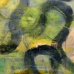 """WANDERERS PATH: Swirl VI, encaustic monotype on kitakata paper, framed 37.5"""" x 24"""" Inches"""