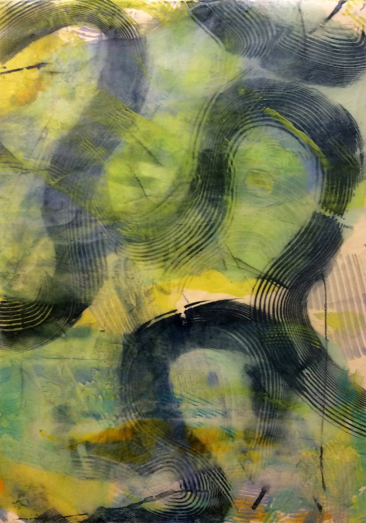 "WANDERERS PATH: Swirl VI, encaustic monotype on kitakata paper, framed 37.5"" x 24"" Inches"
