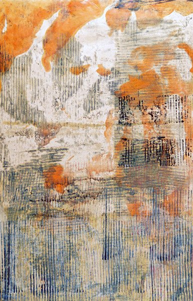 Encaustic Monotypes: BEAUTY'S LANGUAGE SERIES - Taiko II