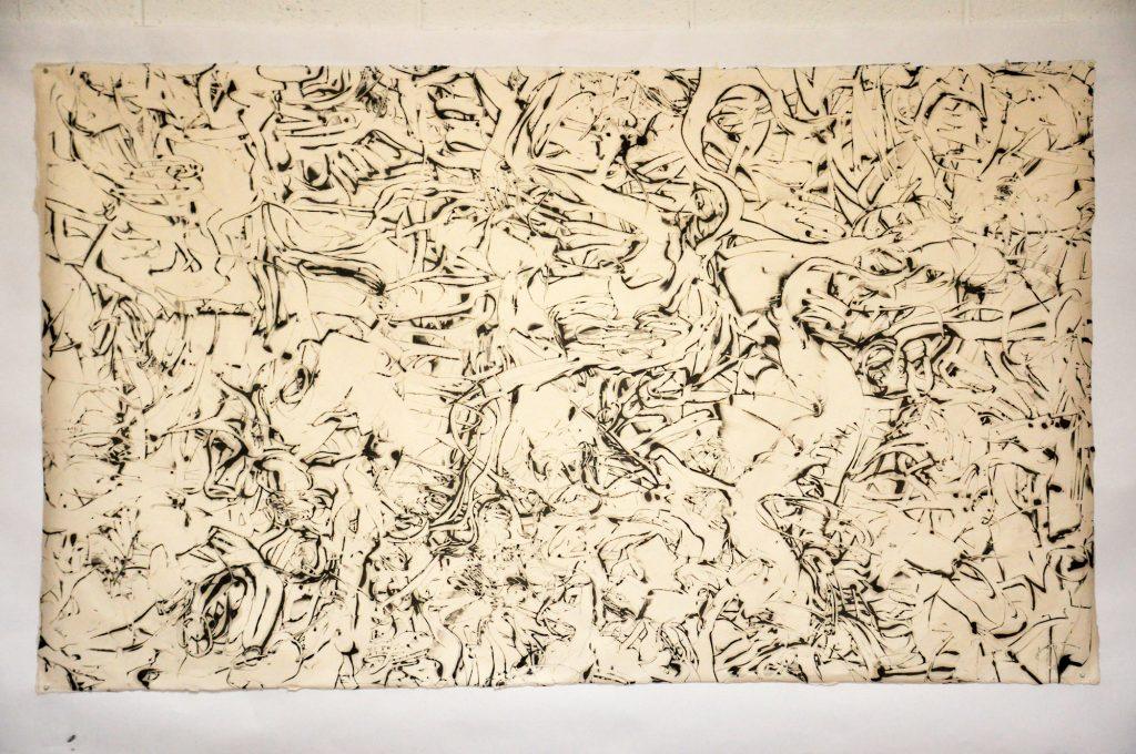 """WANDERERS PATH: Wanderer's Map encaustic monotype, framed 42"""" x 60"""" Inches"""