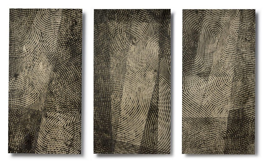 SIGHTLINES SERIES: Sightlines (triptych, #s VI, IV, V), encaustic on Japanese paper