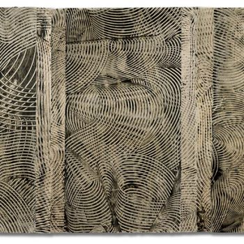 SIGHTLINES SERIES: Boing!, (triptych) encaustic on layered Japanese paper, unframed triptych 39 x 75 inches