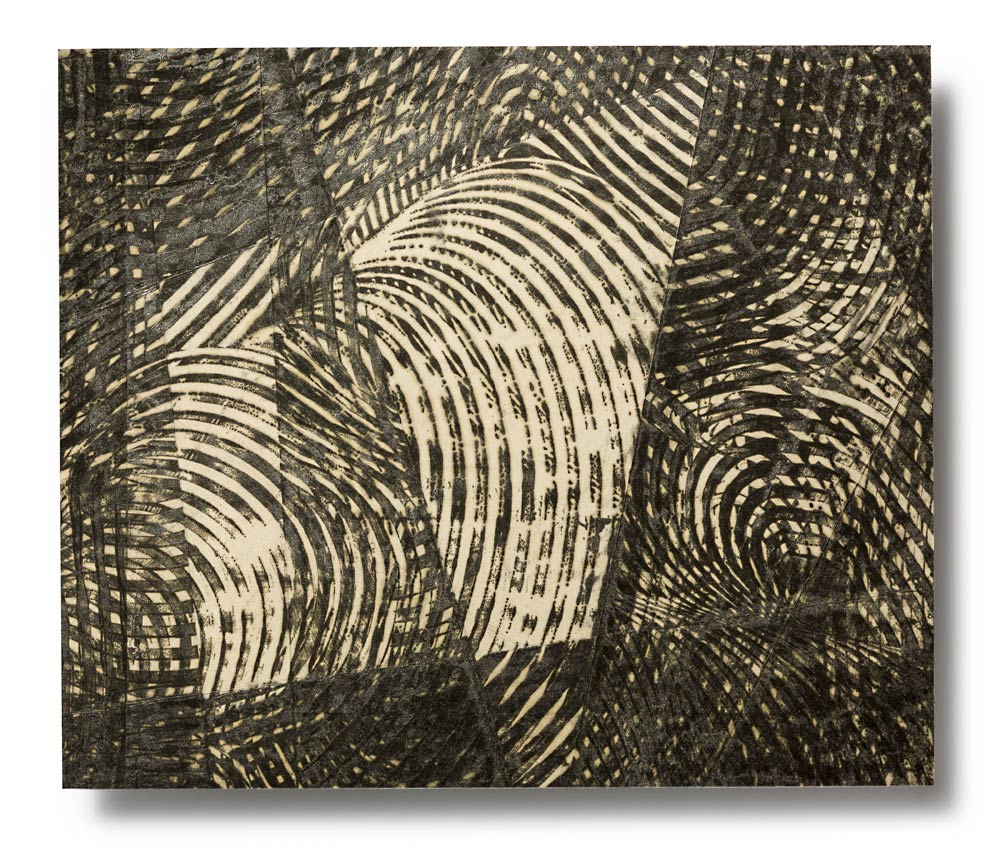 SIGHTLINES SERIES: Sightlines I, encaustic on Japanese paper, archival mount to Dibond, 16.25 x 19 inches
