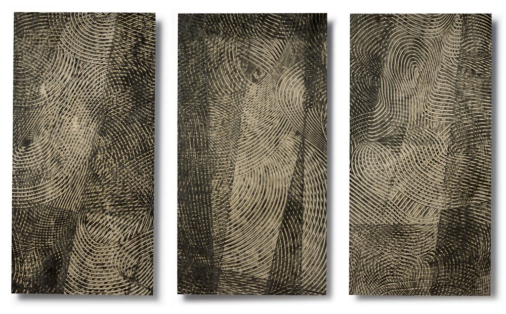 SIGHTLINES SERIES: Sightlines (triptych, #s VI, IV, V), encaustic on Japanese paper, archival mount to Dibond, 37.25 x 56.25 inches