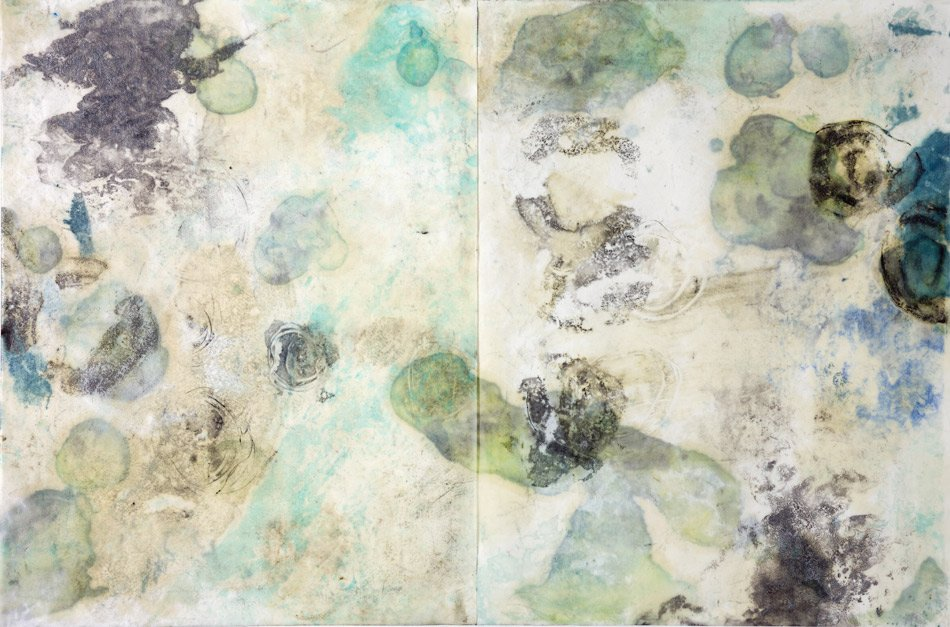"NAVIGATING: Low Tide, encaustic monotype. 24"" x 36"""