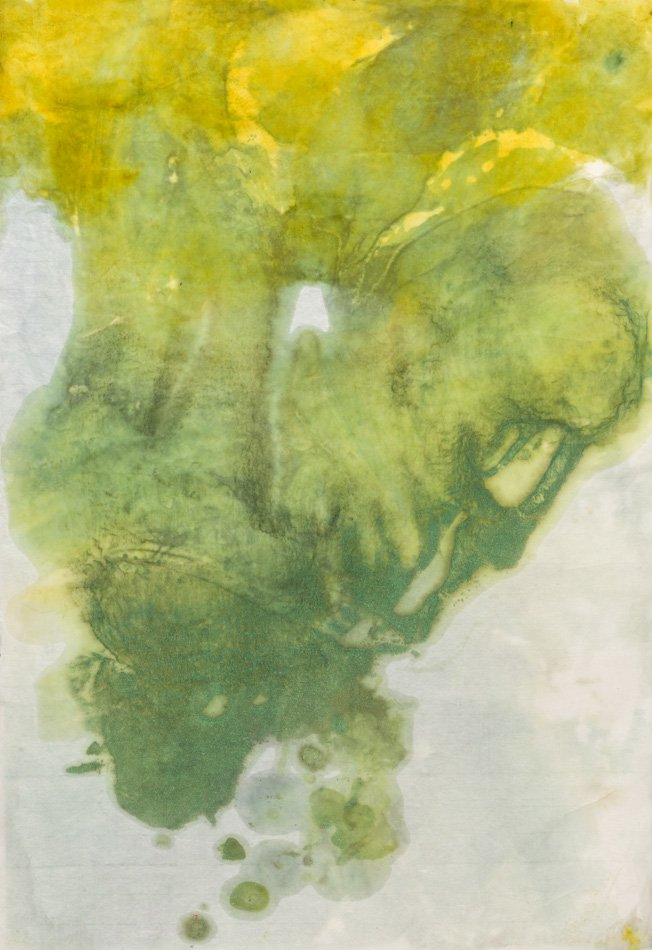 "NAVIGATING: Welcoming Chance, 2014 encaustic monotypes, layered. 38.5"" x 26"""