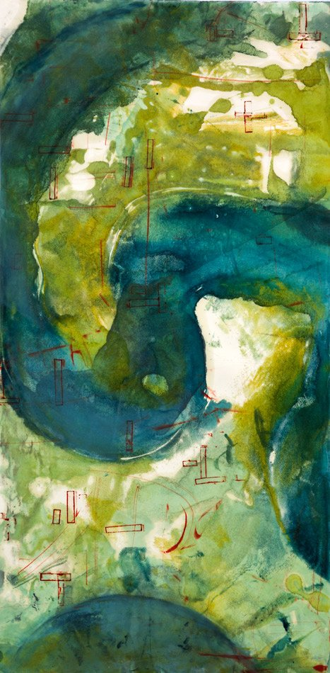 "NAVIGATING: Safe Harbor, 2014 encaustic monotype 40"" x 20"""