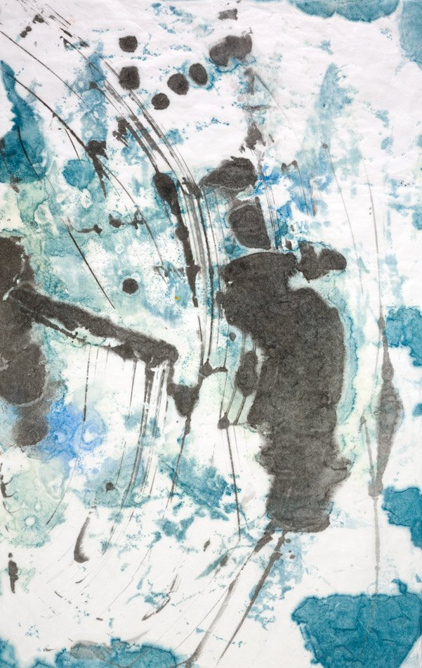 "NAVIGATING: Uncharted, encaustic monotype. 39"" x 25"""