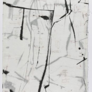 """SOLD - Dual Map II, 32"""" x 21"""", Monotype, encaustic on paper"""