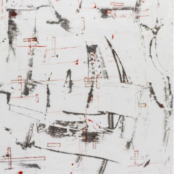 """Mapping Gesture, 36"""" x 24 3/8"""", Monotype, encaustic on paper"""