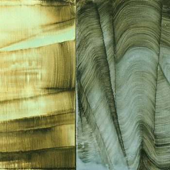 """Twin Wave, Mixed media on two panels, 18"""" x 34"""""""