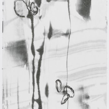 """Time Lapse 4 (2 layers)  24"""" h x 18"""" w. Monotype, encaustic on paper"""